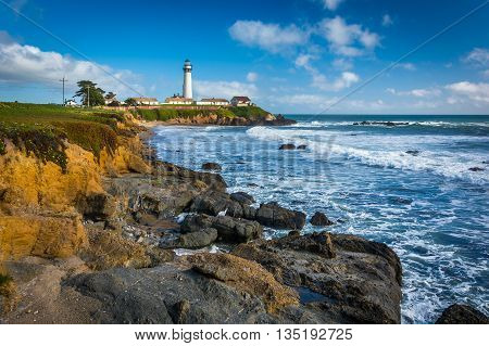 Rocky Coast And View Of Piegon Point Lighthouse In Pescadero, California.