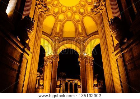 The Palace Of Fine Arts At Night, In San Francisco, California.