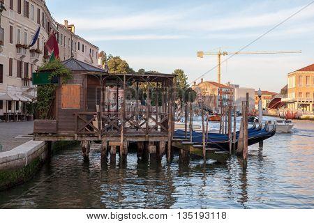 Parking gondolas near the railway station in Venice.