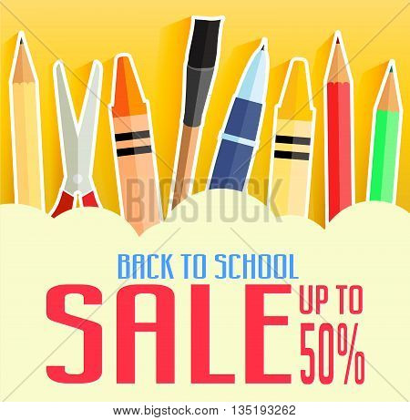 Back to School Sale Up To 50 Percent with School Items. Promotional Design