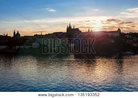 Prague cathedral, castle and Vitava river