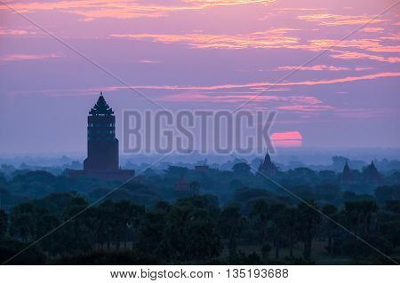 Began Old temples in sunrise at Myanmar