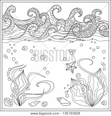Hand drawn seashells in the ocean with decorated waves. Image for adult and children coloring book engraving etching embroidery decorate t-shorts tunics. eps 10
