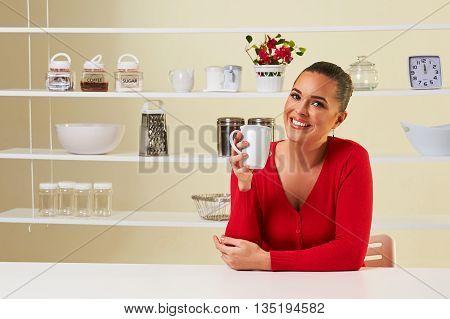 Beautiful Healthy Woman Drinking Coffee Or Tea In A Mug