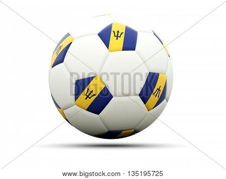 Flag Of Barbados On Football