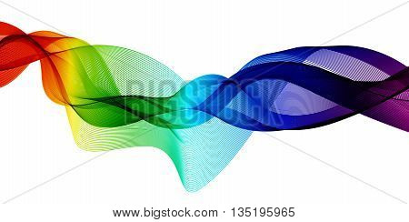 Abstract background with waves. Waves in different colors: pink, purple,red,orange,yellow,green,blue. Abstract color wave. Template brochure design.
