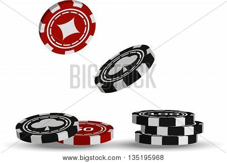 Flying red and black casino chips on white background illustration. Isolated casino chips.