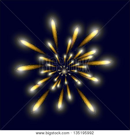 Yellow bright firework in the sky for your design.