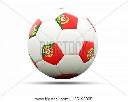 Flag Of Portugal On Football