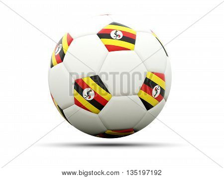Flag Of Uganda On Football