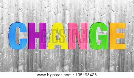 colorful change word concept on wooden texture background