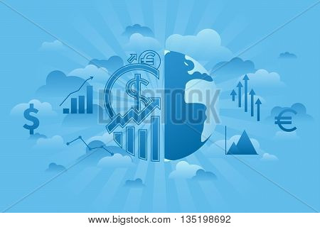 Global economics concept in cloud and blue sky style. Flat line vector illustration.