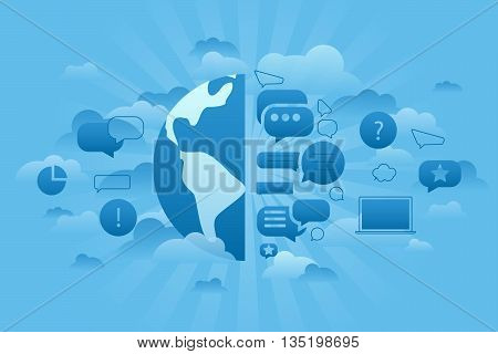 Line flat business vector illustration. Thin line concept of Global Forum. Dialog bubble as earth. Global business conception in cloud and blue sky.