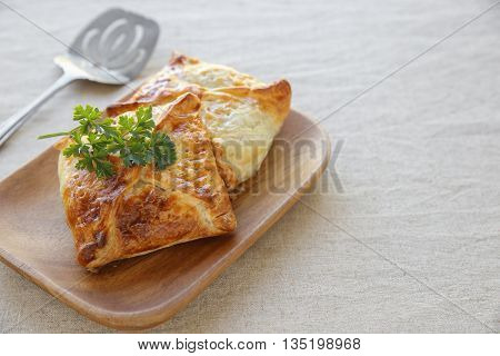 Homemade chicken puff pie selective focus copy space background