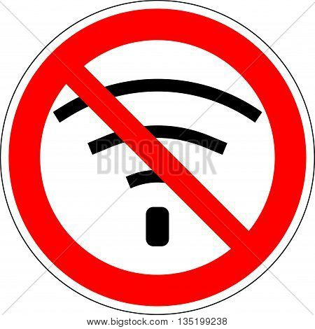 No wifi. Bad internet connection sign. No signal bad antenna no wifi no wireless connection symbol. No Wifi sign. Wi-fi symbol. Wireless Network icon. Red prohibition sign. Stock Vector ilustration