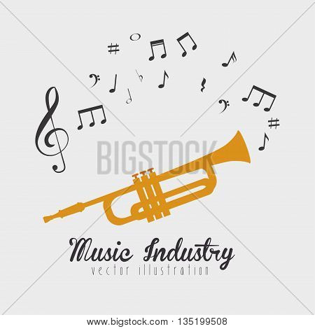 trumpet sounding  isolated icon design, vector illustration  graphic