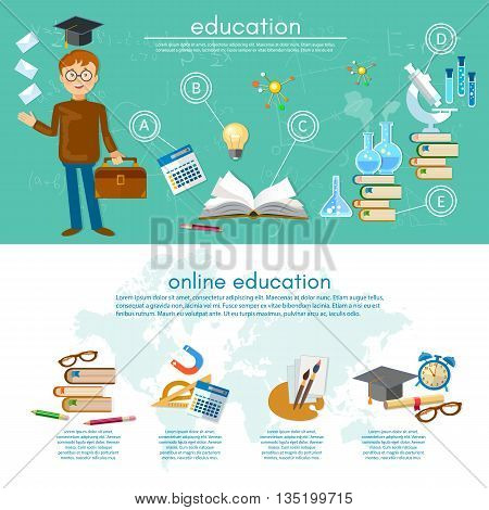 Education infographic elements student learning student goes to school infographics knowledge education vector illustration