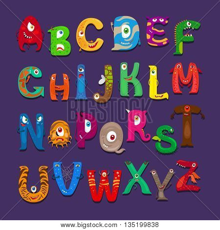Funny alphabet. Vector cute funny abc for kids scrapbook
