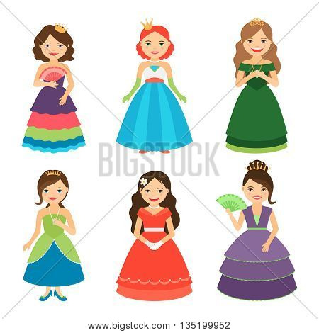 Little princess girls with tiaras in long dresses vector illustration