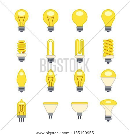 Light bulb flat vector icons. Electrical lamp and electric efficient energy illustration