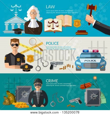 System of justice banner courtroom defendant and the judge law criminal trial judge in court vector illustration