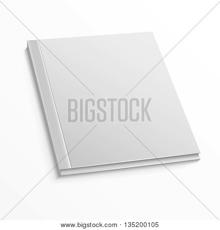 Blank magazine cover template on white background. Mockup for book or magazine, blank mockup with hard cover for catalog and booklet. Vector illustration mock up