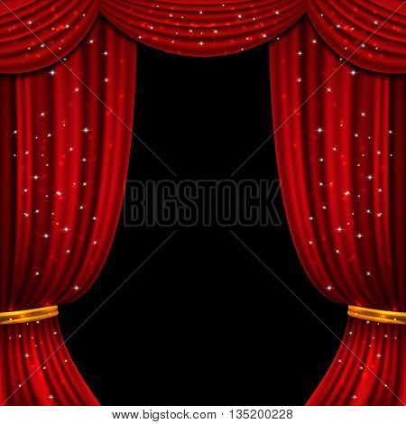 Red open curtain with glittering lights. Stage with fabric curtain, illustration of presentation with open curtain. Vector background