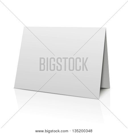 Blank folder paper card isolated on white. Template paper sheet for calendar. Blank paper card, mockup booklet bended banner. Vector illustration