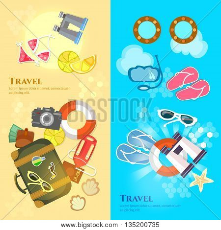 Travel banners sea beach summer holiday travel suitcase passport flip flops vector illustration