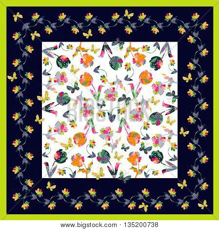 Bright bandana print with colorful flowers and butterflies. Silk neck scarf. Kerchief square pattern design style for print on fabric. Vector illustration.