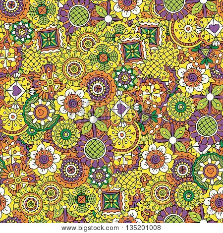 Floral background colored yellow and purple made of beautiful geometric designs and other intricate patterns