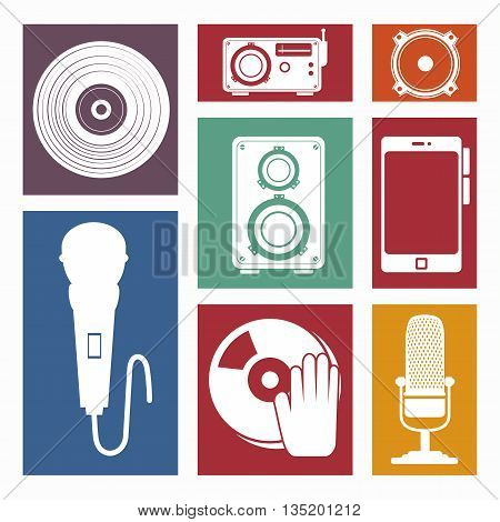 set the music industry devices isolated icon design, vector illustration  graphic