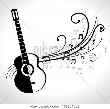 acoustic guitar icon design, vector illustration  graphic