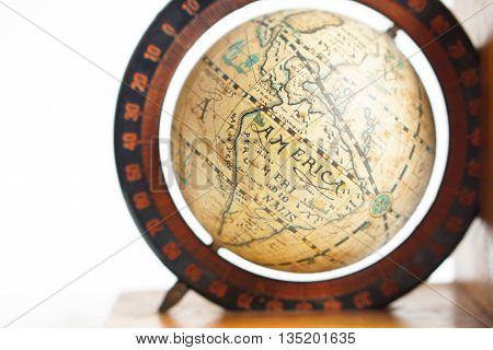 antique global map isolated on white background