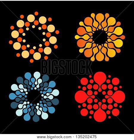 Vector isolated sun logo design template. Abstract dots symbol. Icon round shape. Colorful logos set