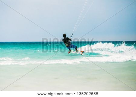 Tarifa, Spain - June 21, 2015: Kite surfing in Tarifa, Spain. Tarifa is most popular places in Spain for kitesurfing