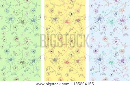 Set of seamless patterns with hand drawn flowers. Vector illustration. May be used for design fabric, wrapping paper, covers, backgrounds.