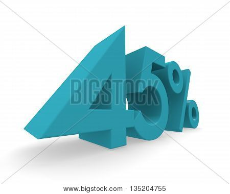 45 percent in turquoise on a white background 3d rendering