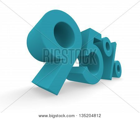 95 percent in turquoise on a white background 3d rendering