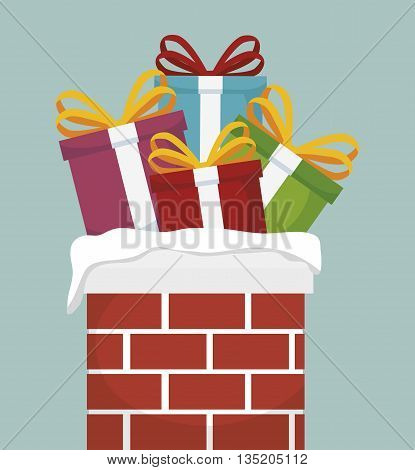 chimney with Christmas gifts isolated icon design, vector illustration  graphic
