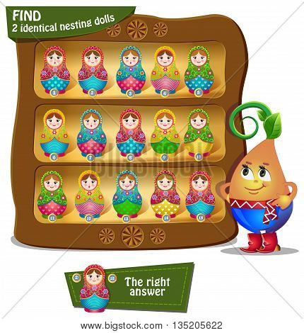 Visual Game for children. Find 2 identical nesting dolls