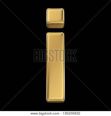 Golden shining metallic 3D symbol letter i - isolated on black