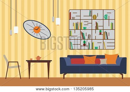 Furniture Set. Flat Vector Illustration for you Interior Design. Elevation with Sofa, Table, Chair, Shelves and Clocks 2