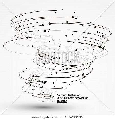 Vector Tornado,Curves and points composition, Abstract graphics.