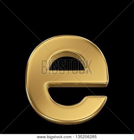 Golden shining metallic 3D symbol letter e - isolated on black