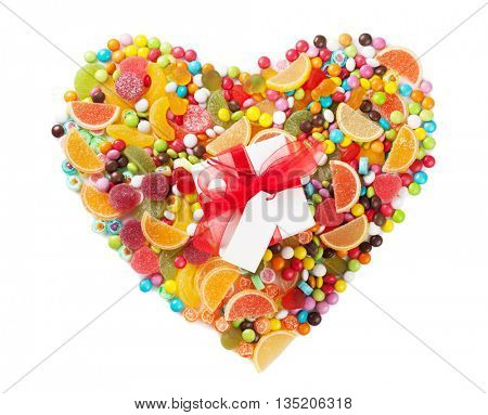 Colorful candies, jelly and marmalade heart and gift box. Isolated on white background