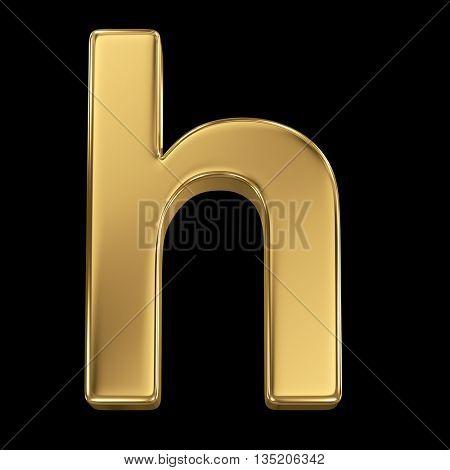 Golden shining metallic 3D symbol letter h - isolated on black