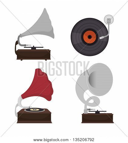 gramophones set isolated icon design, vector illustration  graphic