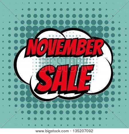 November sale comic book bubble text retro style