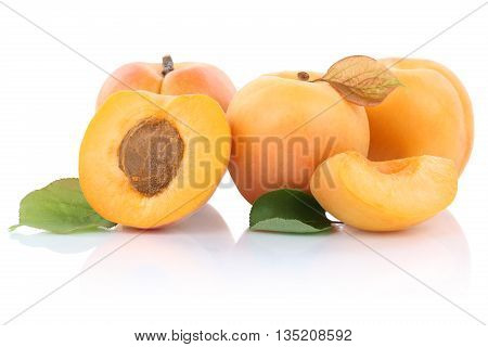 Apricot Apricots Slice Half Fruit Fruits Isolated On White